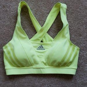 Adidas sports bra size small padded bright yellow